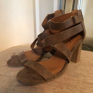 Brown Suede Strappy Heels